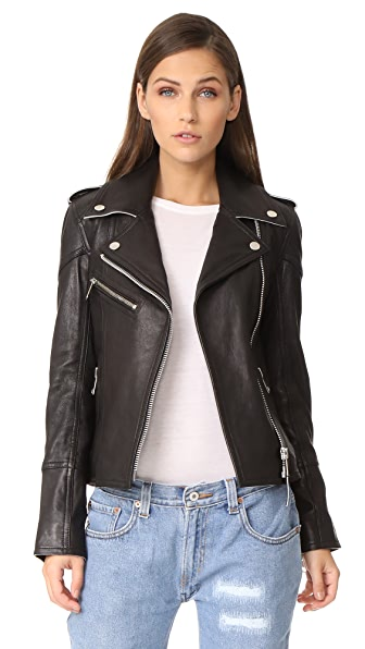 Victoria Victoria Beckham Contrast Biker Jacket - Black