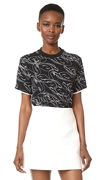 Victoria Victoria Beckham Boxy Tee In Black/Scribble Swan