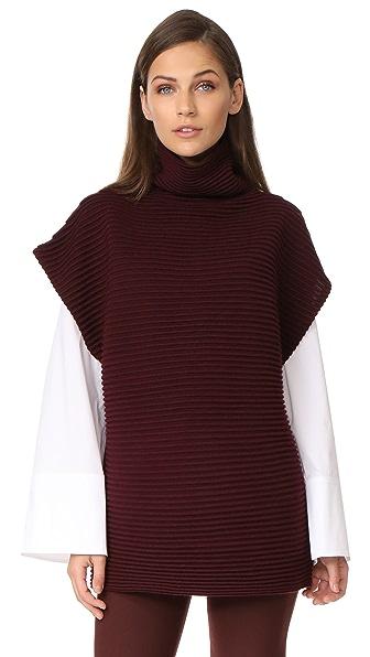 Victoria Victoria Beckham Sleeveless Funnel Neck Sweater - Burgundy