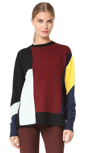 Victoria Victoria Beckham Patchwork Sweater - Navy