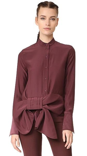 Victoria Victoria Beckham Asymmetrical Tux Bow Shirt - Burgundy