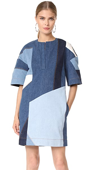 Victoria Victoria Beckham Patchwork Dress - Blue