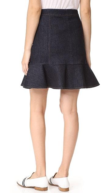 Victoria Victoria Beckham Denim Flounce Hem Miniskirt