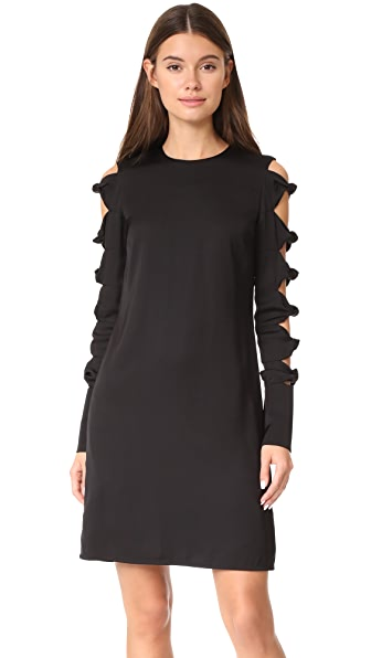 Victoria Victoria Beckham Knot Sleeve Dress In Black