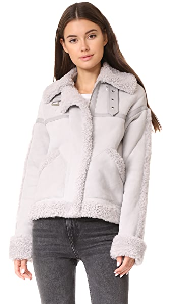 Victoria Victoria Beckham Oversize Shearling Jacket In Concrete Grey