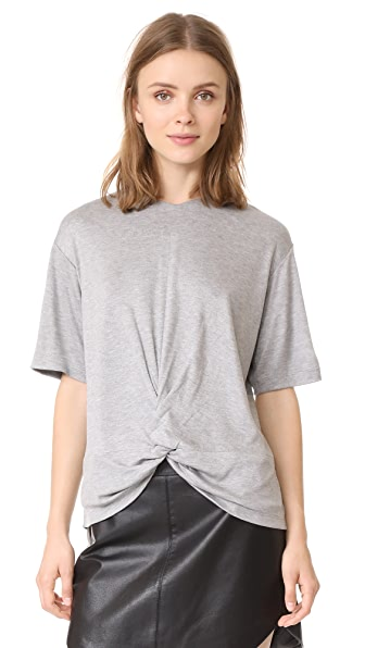 Victoria Victoria Beckham Twist Hem Tee In Light Grey Melange