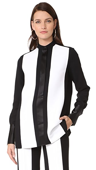Victoria Victoria Beckham Contrast Stripe Shirt - White/Black
