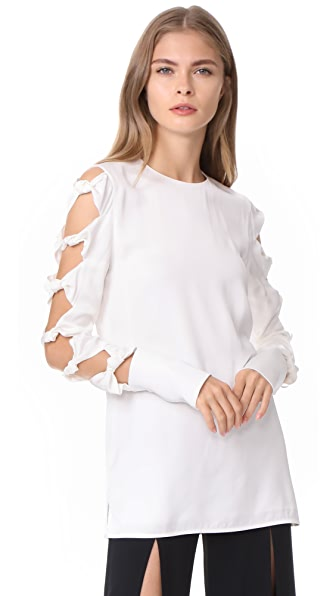 Victoria Victoria Beckham Knot Sleeve Top - Ivory