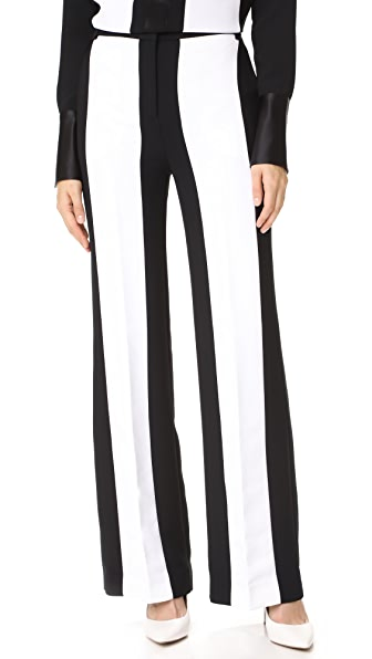 Victoria Victoria Beckham Contrast Stripe Pants In Black/White
