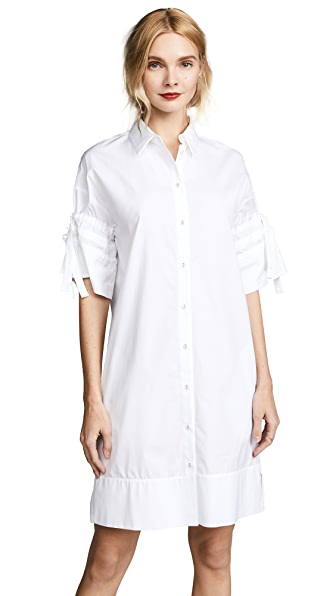 Victoria Victoria Beckham Gathered Sleeve Shirtdress In White