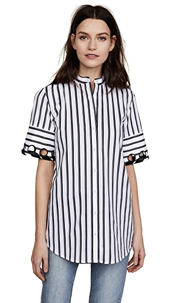 Victoria Victoria Beckham Laced Sleeve Shirt In White/Black