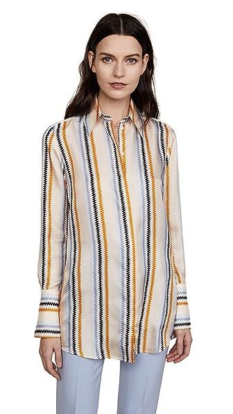 Victoria Victoria Beckham Fluid Shirt In Zigzag Stripe
