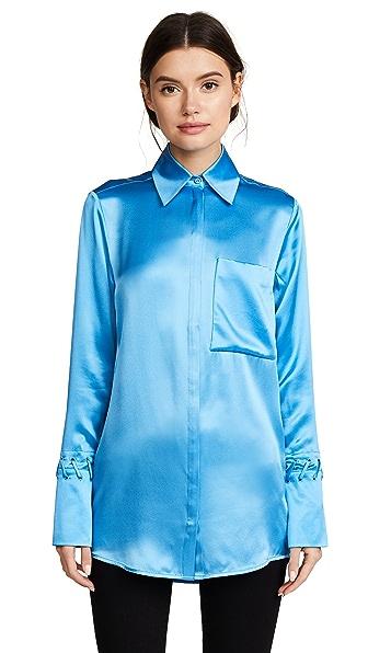 Victoria Victoria Beckham One Pocket Fluid Shirt In Azure