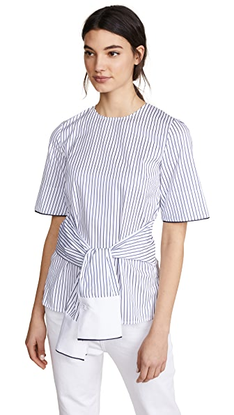 Victoria Victoria Beckham Sleeve Wrap Top In White/Navy