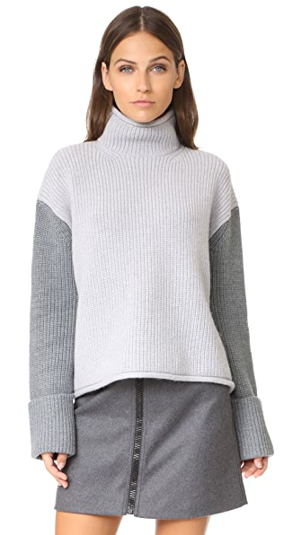 Victoria Victoria Beckham Colorblock Turtleneck In Pale Grey/Black