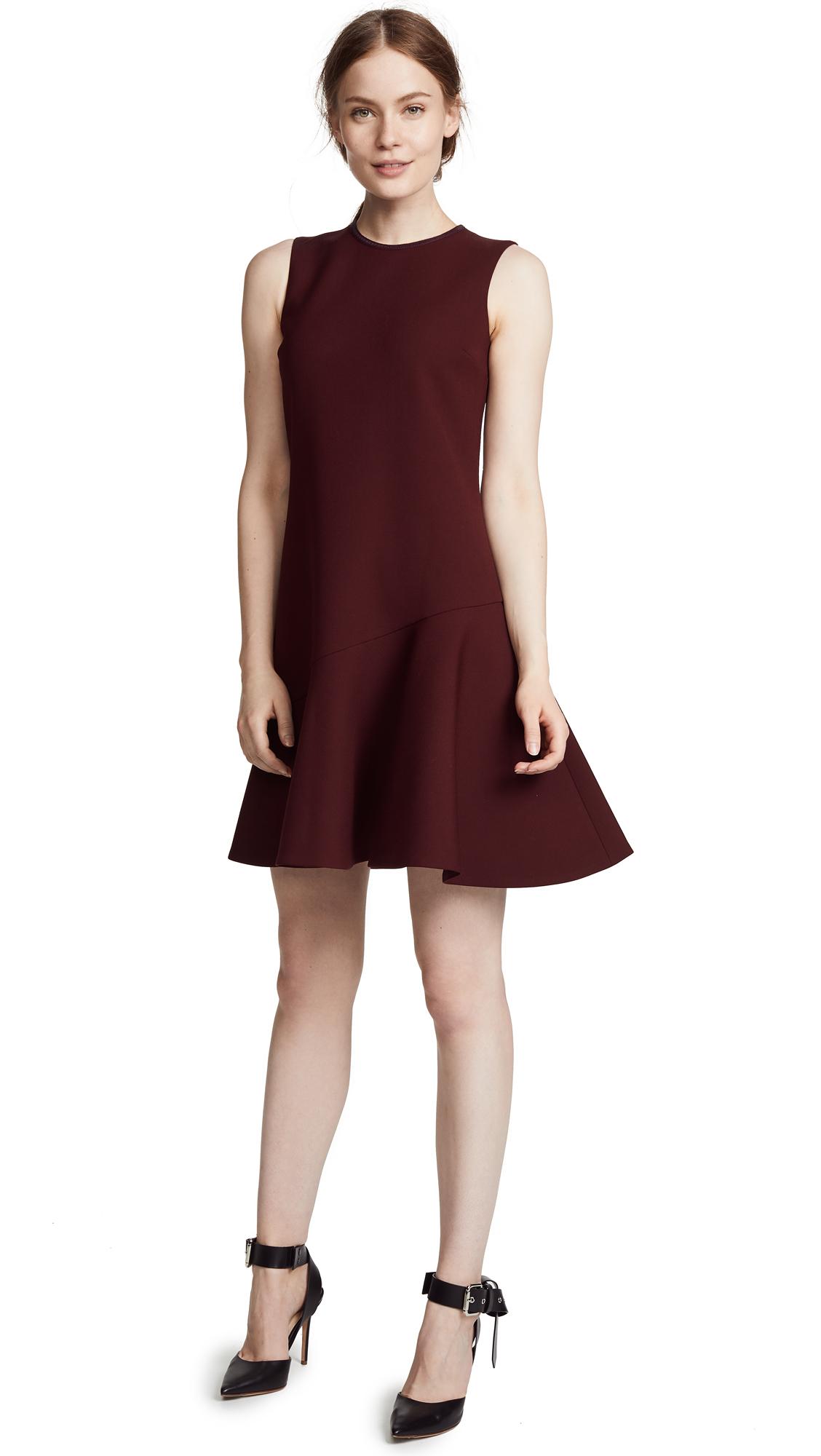 Victoria Victoria Beckham Flounce Hem Shift Dress In Garnet