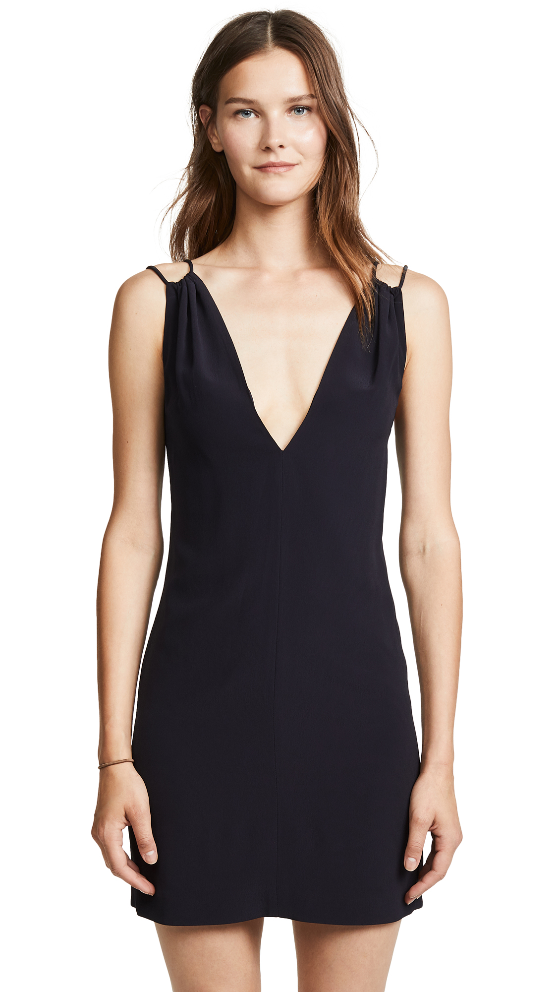 Victoria Victoria Beckham Gathered V-Neck Dress - Midnight