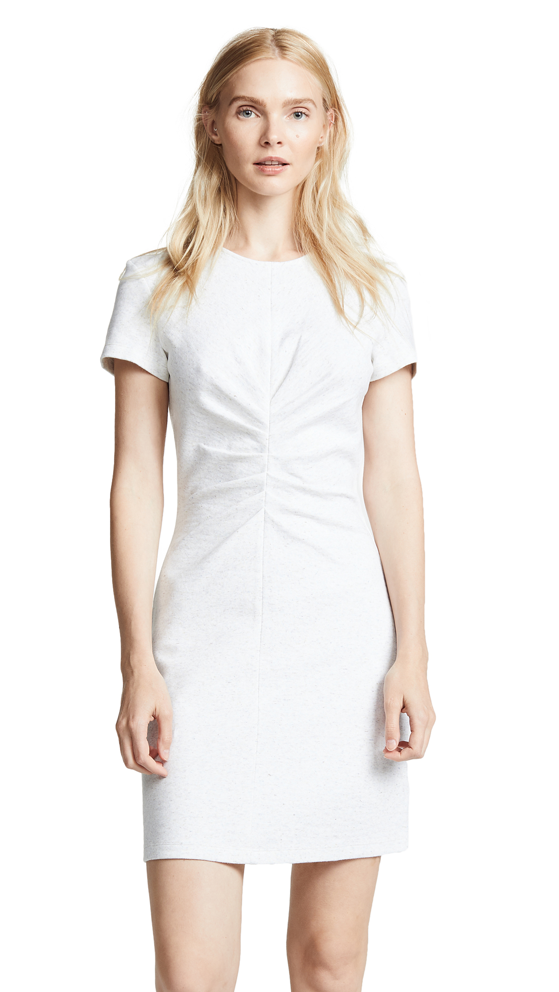 Victoria Victoria Beckham Tuck Front Mini Dress In Ivory Multi Melange