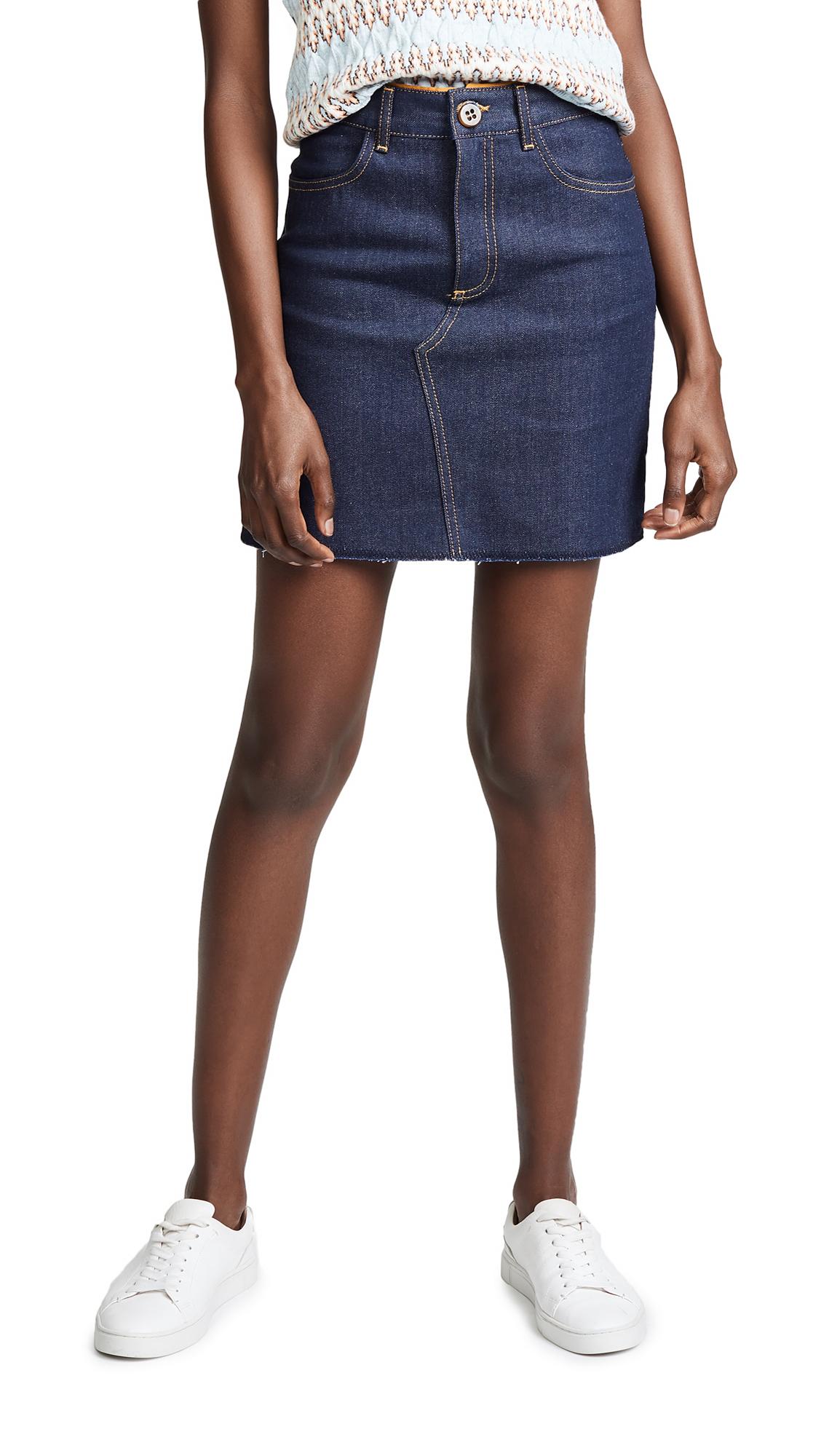 Victoria Victoria Beckham Raw Hem Miniskirt In Raw Indigo