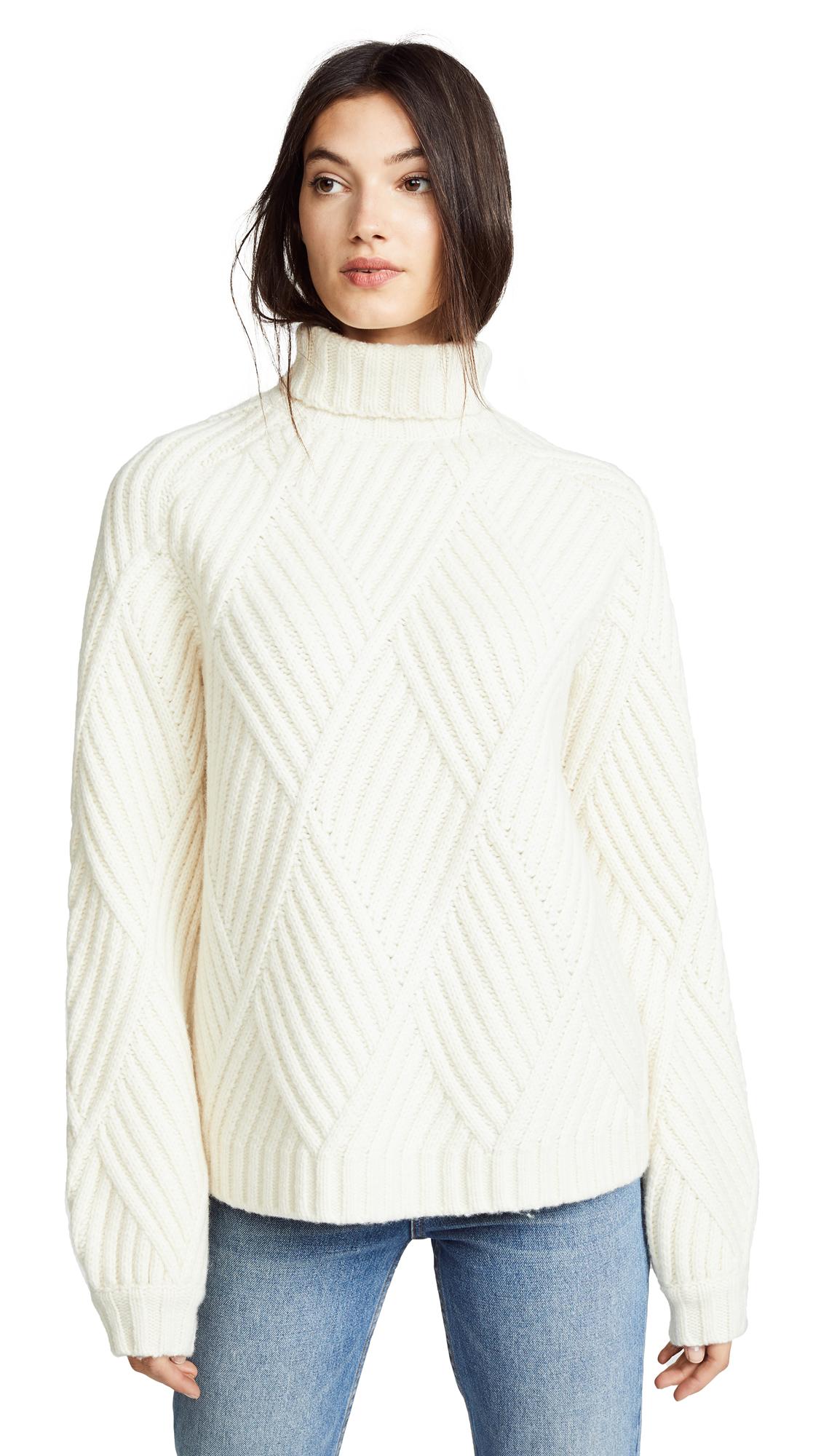 Victoria Victoria Beckham Classic Raglan Turtleneck Sweater In Ivory