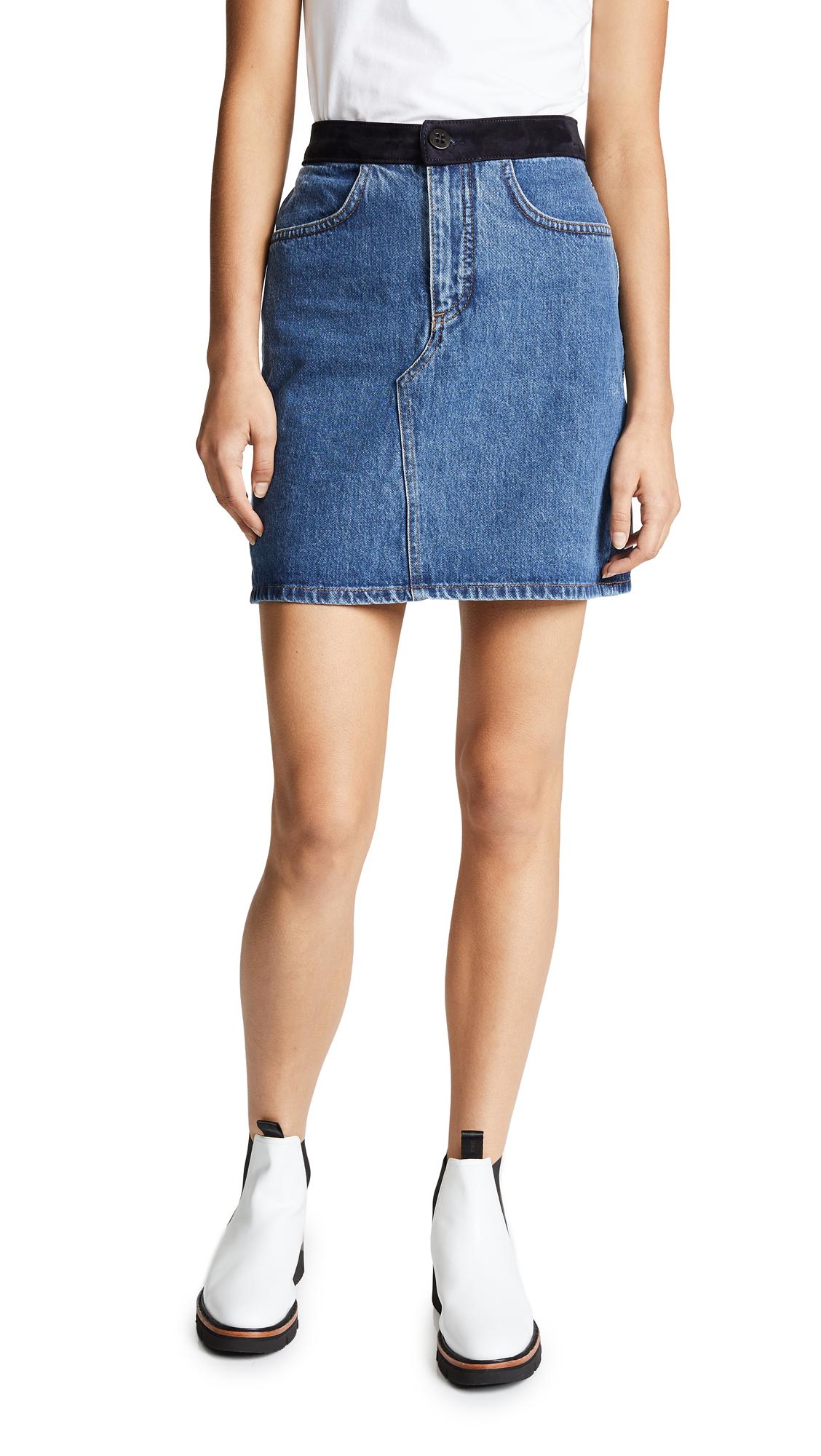 Suede-Trimmed Denim Mini Skirt in Mid Denim