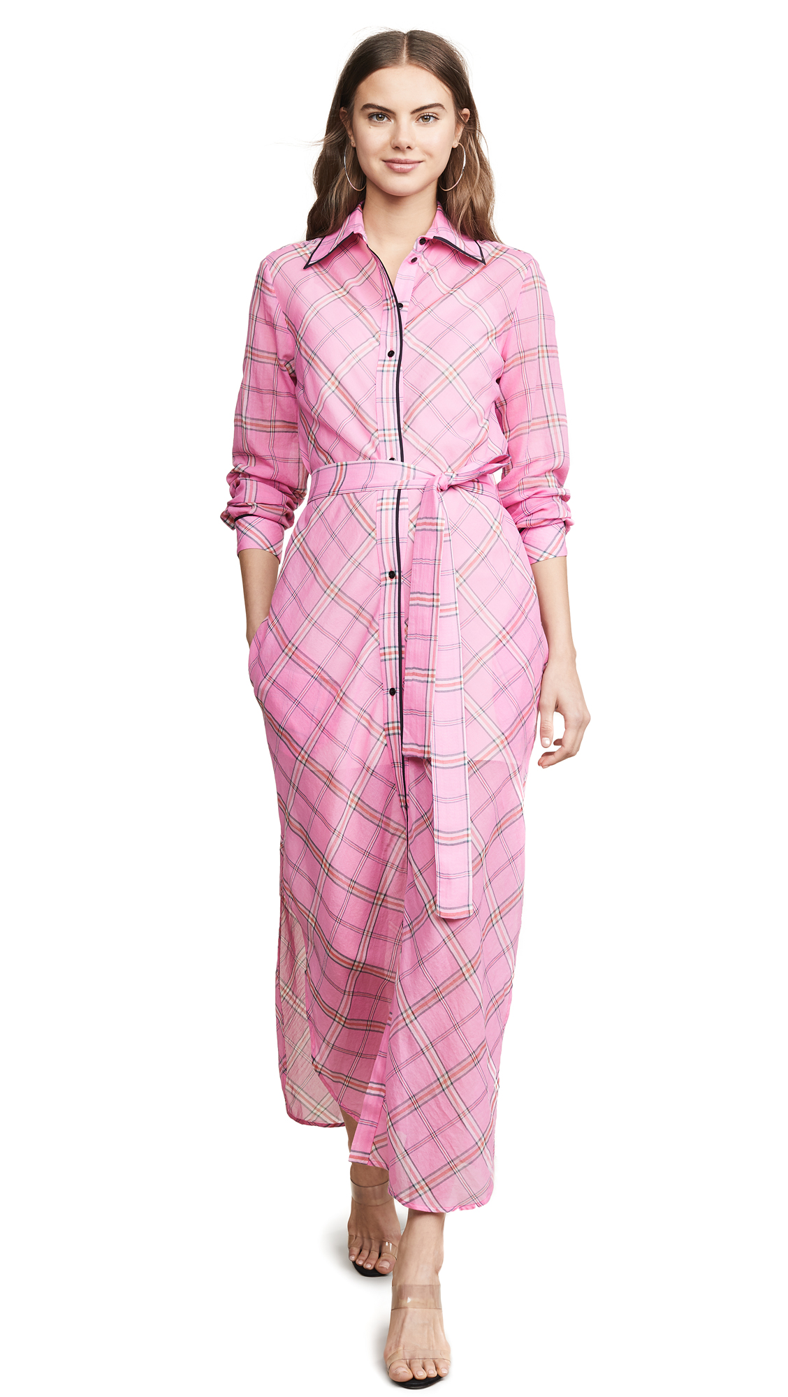 Buy Victoria Victoria Beckham online - photo of Victoria Victoria Beckham Long Plaid Shirtdress