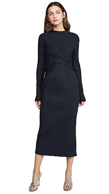 Victoria Victoria Beckham Draped Front Midi Dress