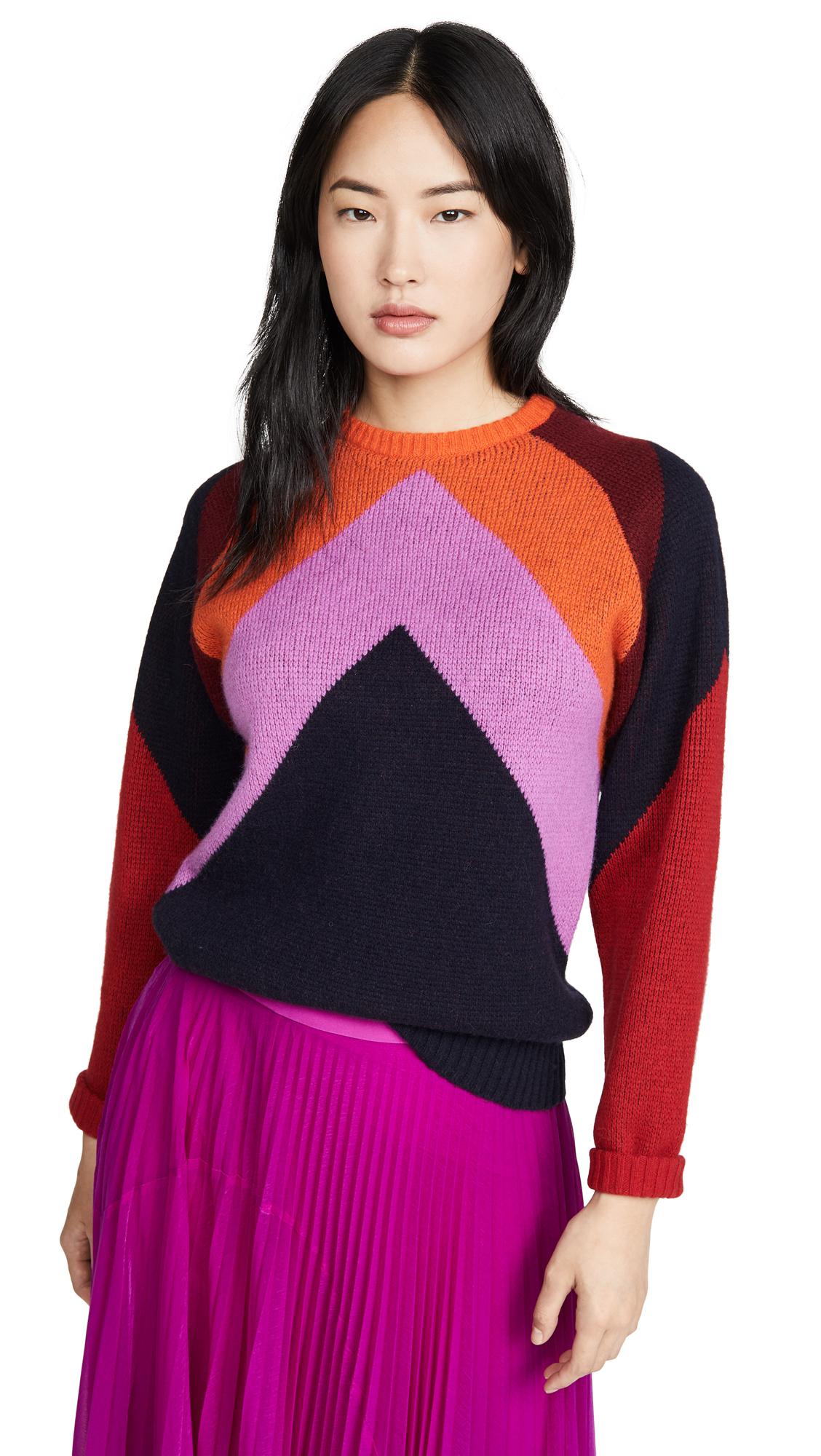 Buy Victoria Victoria Beckham online - photo of Victoria Victoria Beckham Intarsia Chevron Crew Neck Sweater