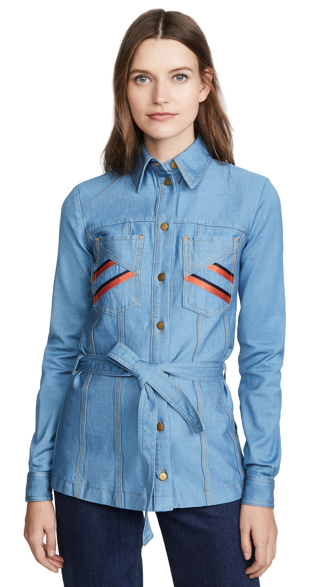 Buy Victoria Victoria Beckham online - photo of Victoria Victoria Beckham Belted Embroidered Shirt