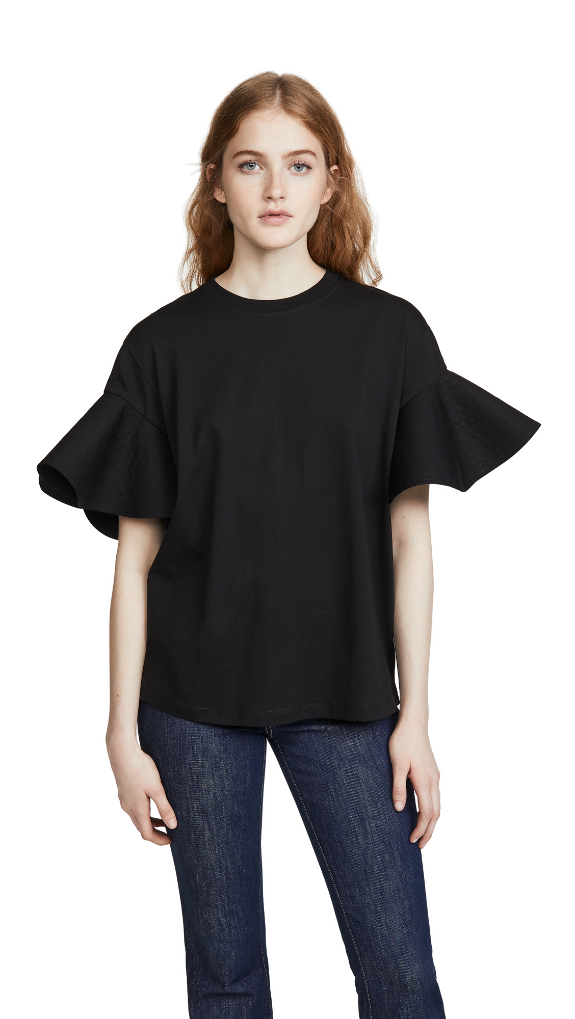 Buy Victoria Victoria Beckham online - photo of Victoria Victoria Beckham Flounce Sleeve T-Shirt