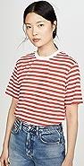 Victoria Victoria Beckham 条纹徽标织带 T 恤