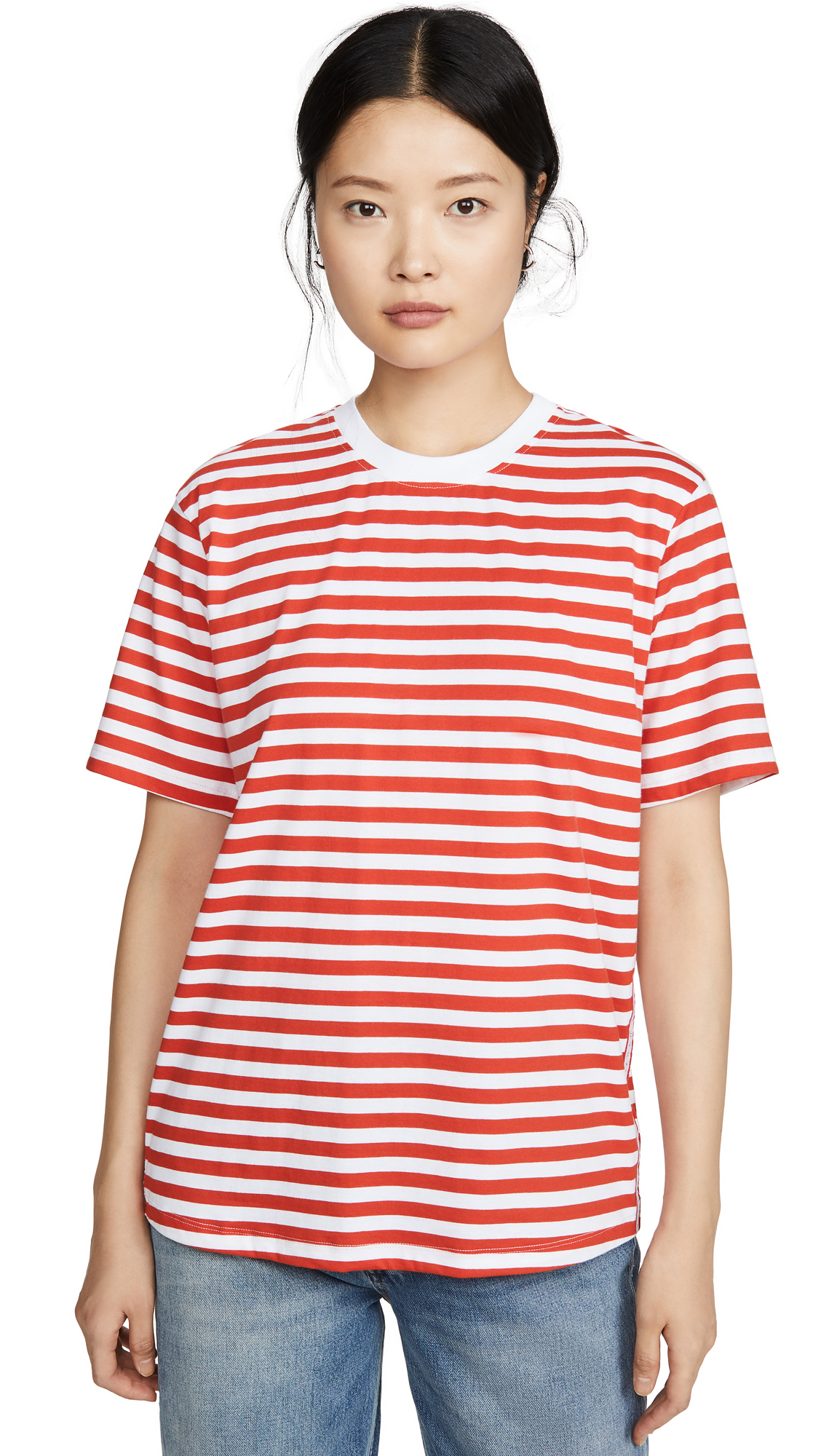 Buy Victoria Victoria Beckham online - photo of Victoria Victoria Beckham Striped Logo Tape T-Shirt