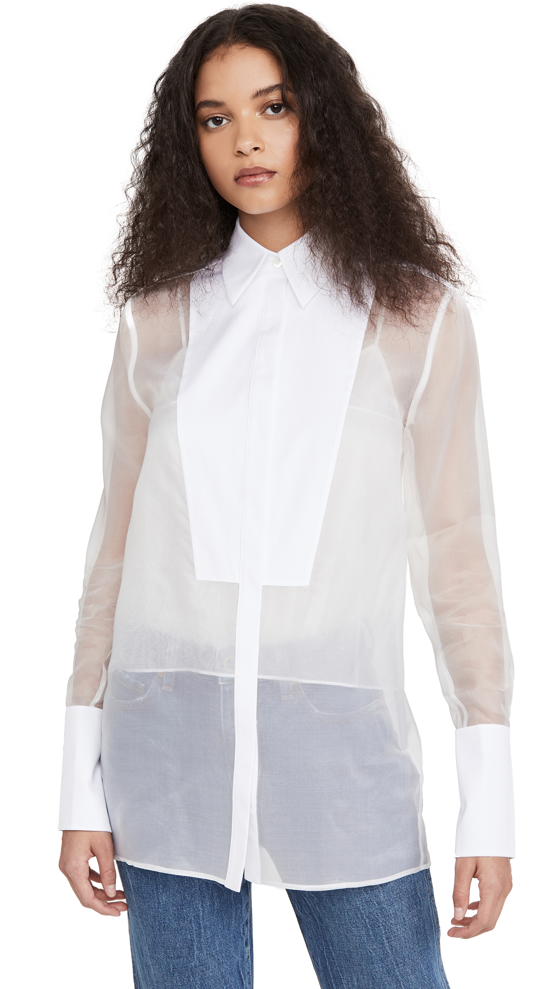 Victoria Victoria Beckham Bib Detail Sheer Shirt - 30% Off Sale
