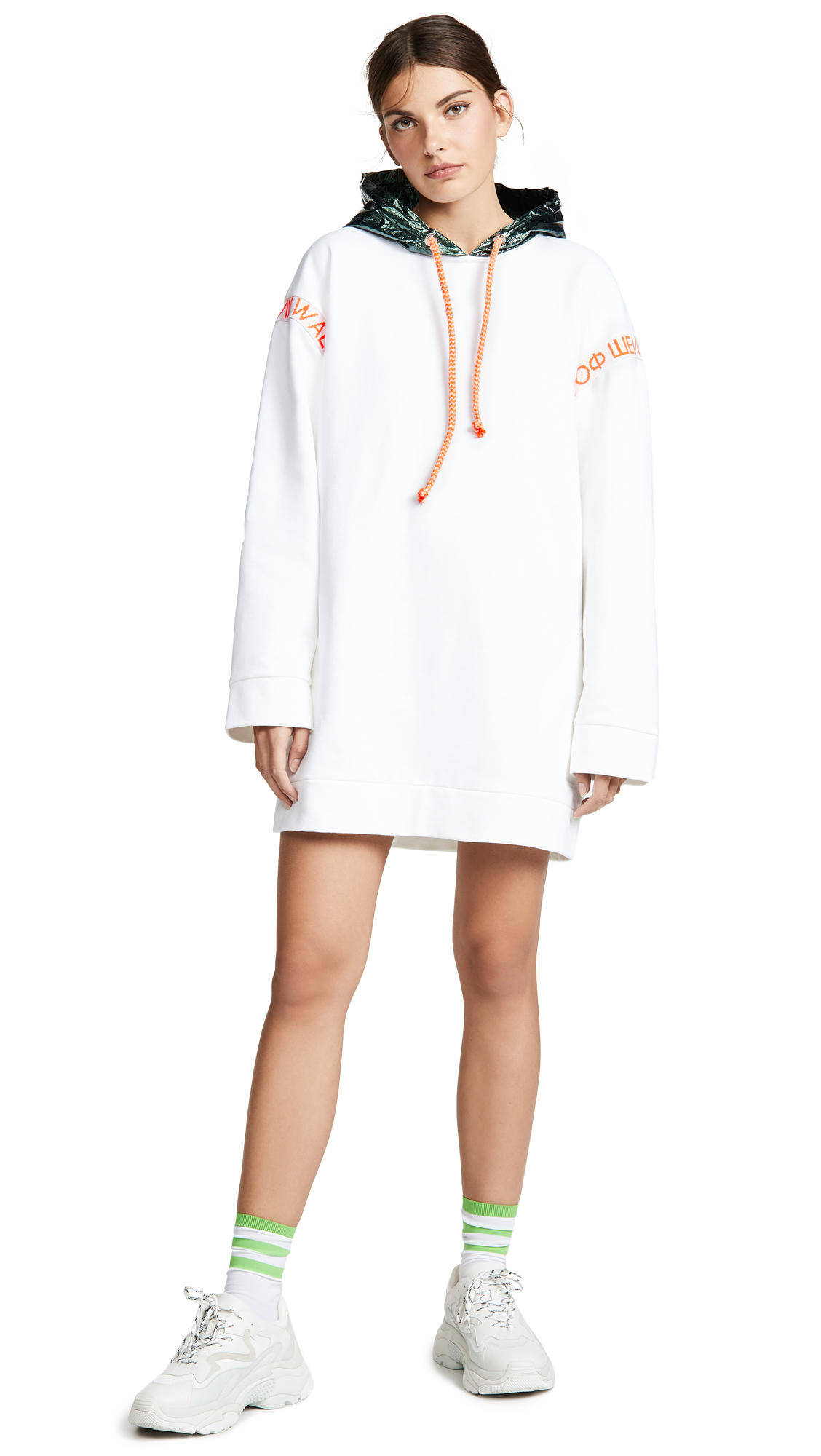 Walk of Shame Hoodie Dress In White