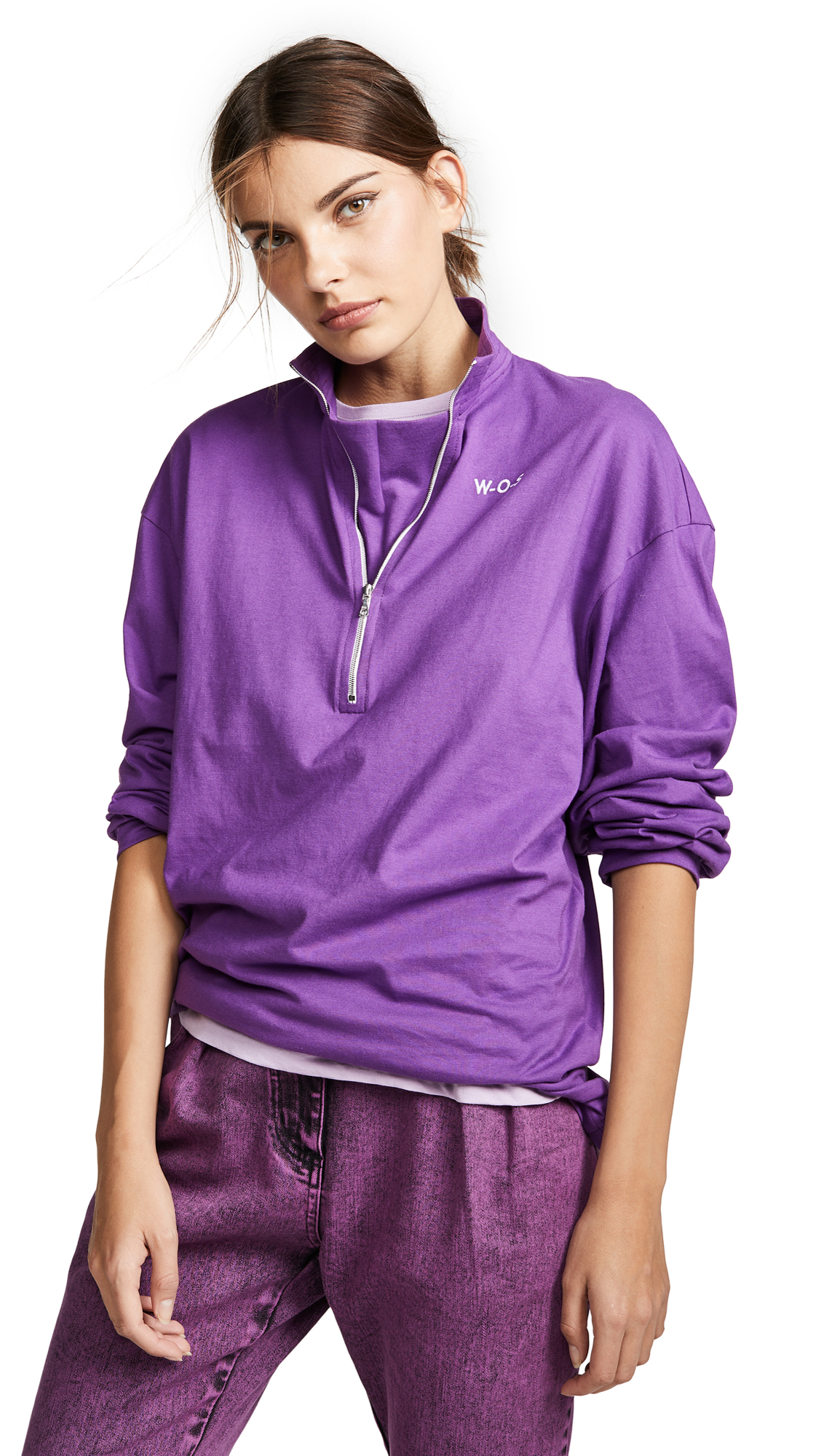 Walk of Shame Half Zip Logo Top - Purple