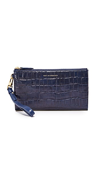 WANT LES ESSENTIELS Slim Aquino Wallet - Navy Croc/True Blue