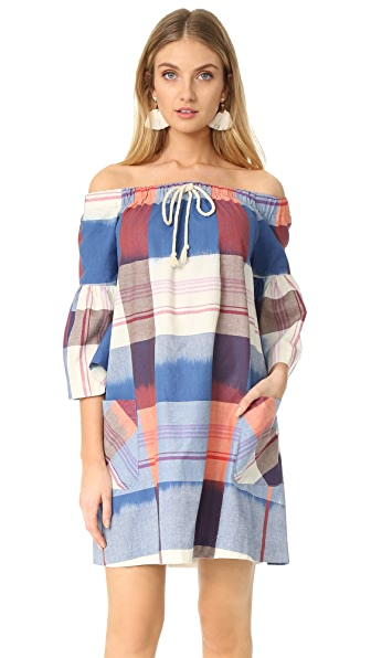 Warm Sunset Sail Dress - Blue/Coral