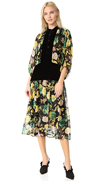 Warm Primrose Burnout Velvet Dress