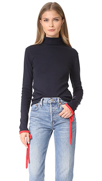 Warm Shadow Turtleneck Top - Navy/Red