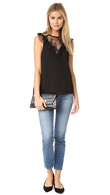 WAYF Andrea Lace Inset Blouse