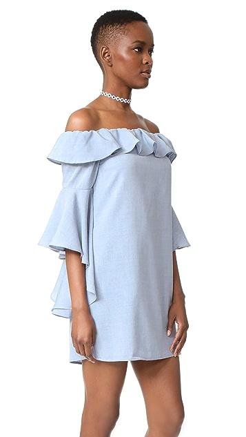 WAYF Kiera Off Shoulder Ruffle Dress