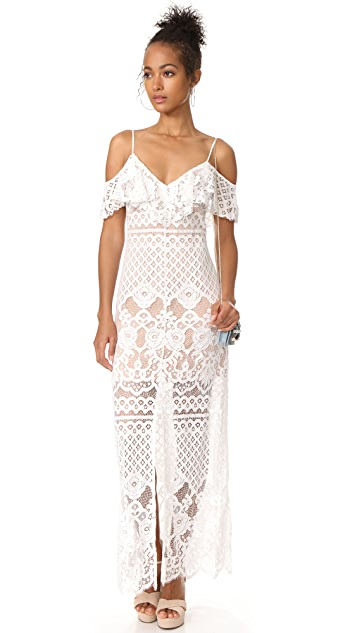 WAYF Luxia Off Shoulder Maxi Dress