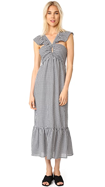 WAYF Bella Ruffle Strap Tiered Dress - Black White Gingham