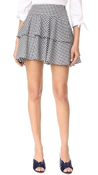 WAYF Rayan Tiered Skirt - Black White Gingham