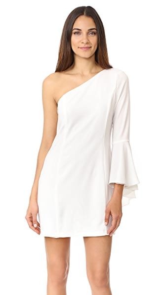 WAYF One Shoulder Bell Sleeve Dress - Ivory