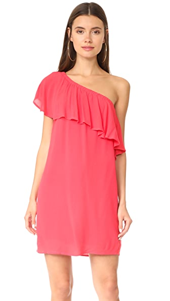 WAYF Conway One Shoulder Ruffle Dress In Coral
