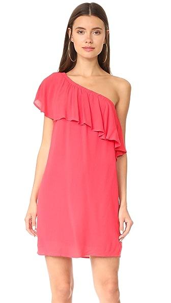 WAYF Conway One Shoulder Ruffle Dress