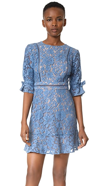 WAYF Rene Tie Sleeve Open Back Lace Mini Dress - Slate Blue Lace