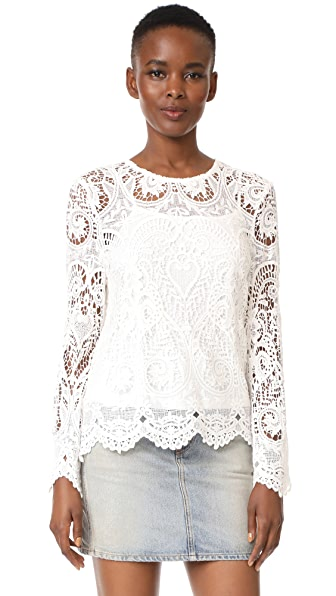 WAYF Lenox Lace Top - Ivory