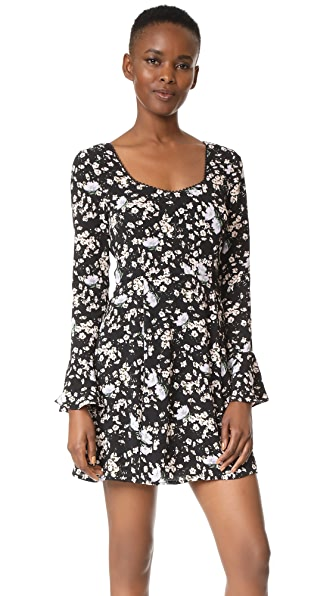 WAYF Lark Skater Mini Dress In Black Wispy Floral